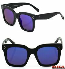 Large Wayfarer Sunglasses Men Women Retro Oversized Square Black Blue Mirror