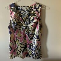 Banana Republic Women's Floral Beige Pink Purple Sleeveless Blouse Sz 6P Petite