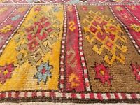 "Primitive Late 1900's Wool Pile 4'1"" x 10''4'' Natural Dye,Sivas Runner Rug"