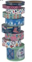 9 Rolls Camping Under the Stars Washi Tape Tube Papercraft Planner Supply