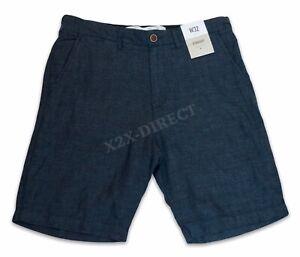 Mens Primark 100% Linen Navy Straight Shorts W32 NEW