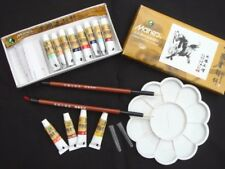 12 CHINESE WATER COLOR INK STICK TUBE DISH LS BRUSH WRITING PAINTING JAPANESE A6
