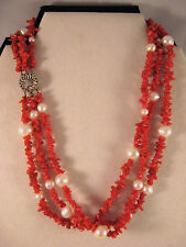 Red Coral Branch Freshwater Pearls 3 Strand Sterling Silver Necklace~16 Inch
