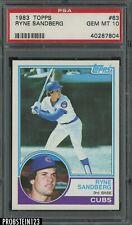 1983 Topps #83 Ryne Sandberg Chicago Cubs RC Rookie HOF PSA 10 GEM MINT