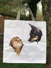Cat & Chihuahua Reusable Shopping Bag Cat Dog Lovers Gift Tote Shopper Beach