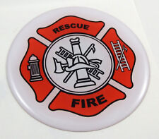 Fire Fighter Firefighter flag Round domed decal emblem Car bike sticker 2.44""