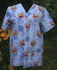 Disney You Make Me Smile Winnie Pooh M Nurse Scrub Top V-neck 4 Pockets  Womens