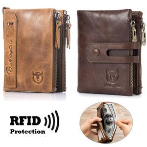 Echt-Leder Geldbörse Herren Portemonnaie Geldbeutel Portmonee mit RFID-Schutz