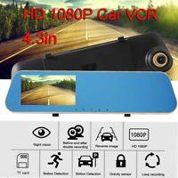 "4.3"" HD 1080p Dual Lens Car DVR Dash Video Cam Mirror Recorder Rear View Camera"