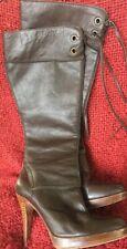 Vtg 70's Boots Madden Luciah Steven Series 10m Leather Seam Corset Wood Stiletto