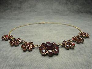 Vintage Czech Bohemian Garnet Glass Flower Choker Necklace On the Chain