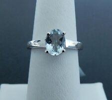 Size 9 Natural Espiritio Santo Aquamarine Sterling Silver Ring 1.03ct Solitaire