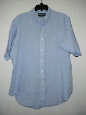 Ralph Lauren Classic Fit Blue Pink Pony 100%Linen Pleated S Sleeve Shirt L