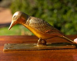 Bird Polished Brass Door Knocker - Animal Handle Pull