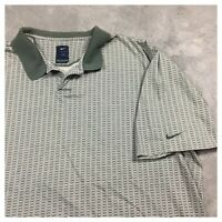 90s VTG NIKE GOLF ALL OVER PRINT XXL Polo Shirt Tiger Woods Tour Green White