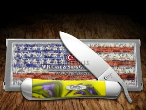 Case xx Russlock Knife Yellow and Purple Corelon 6084YP Stainless Pocket Knives