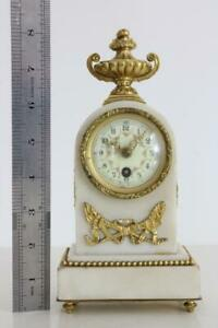 MINIATURE ANTIQUE FRENCH MANTEL CLOCK  white marble with ormolu mounts RESTORE