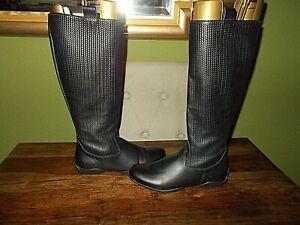 Womens Soft Black Leather Anna Luz Mid Calf zipped Boots Size UK 5, EU 38