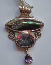 Mystic Quartz, Amethyst and Titanium Druse Pendant - Sterling Silver j1475