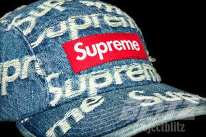 SUPREME FRAYED LOGOS CAMP CAP HAT DENIM BLUE SS21