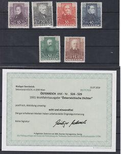 Ö 1931 Österreichische Dichter Geprüft Postfrisch ** MNH 524 - 529 ANK € 250,--