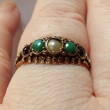 GEORGIAN 15 CARAT YELLOW GOLD RING SET WITH SUFFRAGETTE STONES SIZE P1/2 WW137