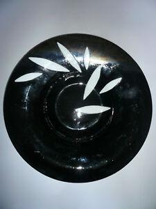 BLACK & METALLIC ART GLASS BOWL WITH APPLIED WHITE GLASS DECORATION