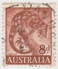 (W1373) 1959 AU 8d brown tiger cat (B)
