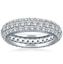 3.50 ct Ladies Three Row Diamond Eternity Wedding Band Ring