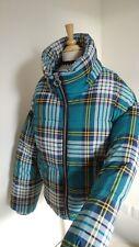 New Topshop Check/plaid/Tartan Oversized Puffer Jacket Size 12 EU 40 Green Mix