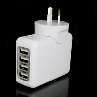 2.1A 4 USB Port Travel Home Wall Charger AC Adapter AU Plug For iPhone Samsung