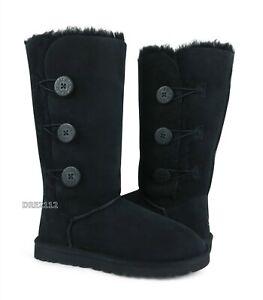 UGG Bailey Button Triplet Black Suede Fur Boots Womens Size 10 ~NIB~