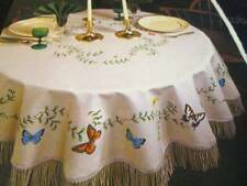 Tri-Chem Butterfly Tan Tablecloth 60x76 Inches-To Paint/Embroider