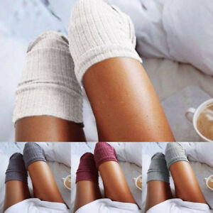 Women Wool Cable Knit Over Knee Long Boot Socks Thigh High Stocking Leg Warm AU