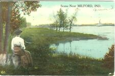 Milford IN Watching the River Flow 1914