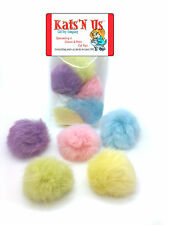 Real Rabbit Fur Pom Pom Ball Cat Toy - Colorful Flying Fuzz Balls - 10 pack