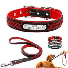 Braided Personalised Leather Dog Collars and Leash Lead Custom Pet Puppy ID Name