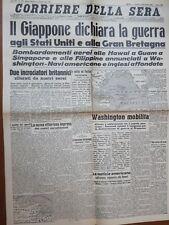 Ristampa giornale GIAPPONE DICHIARA GUERRA AGLI STATI UNITI PEARL HARBOUR 1941