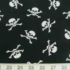 100% Cotton Poplin Fabric Rose & Hubble Tossed Skull & Crossbones Pirates