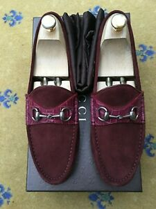 Gucci Mens Shoes Red Suede Horsebit Loafers Drivers UK 8 US 9 EU 42 Croc
