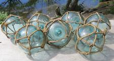 """Japanese Glass Fishing Floats 3.5"""" Lot-7 Aqua Unique Net Maker's Marks Antique!"""