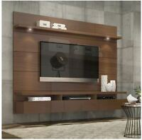 Floating Entertainment Center Tall Wall Unit TV Stand 70 Inch Screen Mount Brown