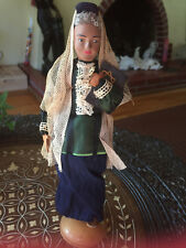 """Unusual Vintage Female Jewish Doll Composition Fabric Leather Bible Scarf 8 3/8"""""""