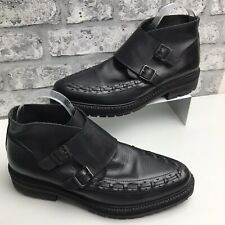 ALL SAINTS Mens Leather Ankle Boots UK Sz 9 42 Black Pull On Monk Boots Buckles