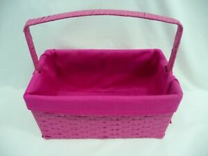 Fabric Lined Pink Woven Bamboo Basket With Handle 12 x 7 x 6 High