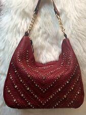 NEW!   Upscale Red Rhinestone Interlocking Cheveron Weave Design Tote Handbag