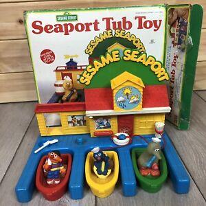 Vintage Sesame Street Seaport Bath Tub Toy Accessories & Figures Incomplete