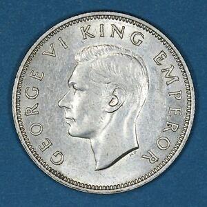 1941 New Zealand Florin coin, AU, KM# 10.1