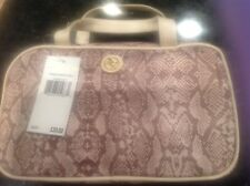 ADRIENNE VITTADINI RECTANGLE MAKEUP COSMETIC BAG SNAKE SKIN CREAM BROWN NWT