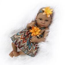 "11"" Handmade Lifelike Reborn Baby Black Girl Doll Soft Silicone Gifts Xmas Gift"